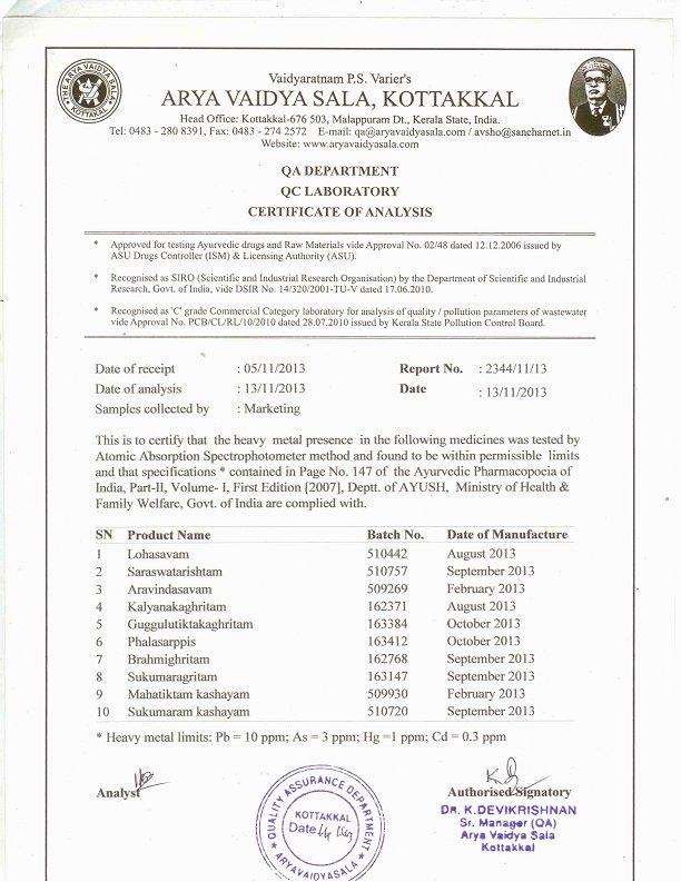 Kottakkal Arya Vaidya Sala_heavy metal test report _ Food Supplements